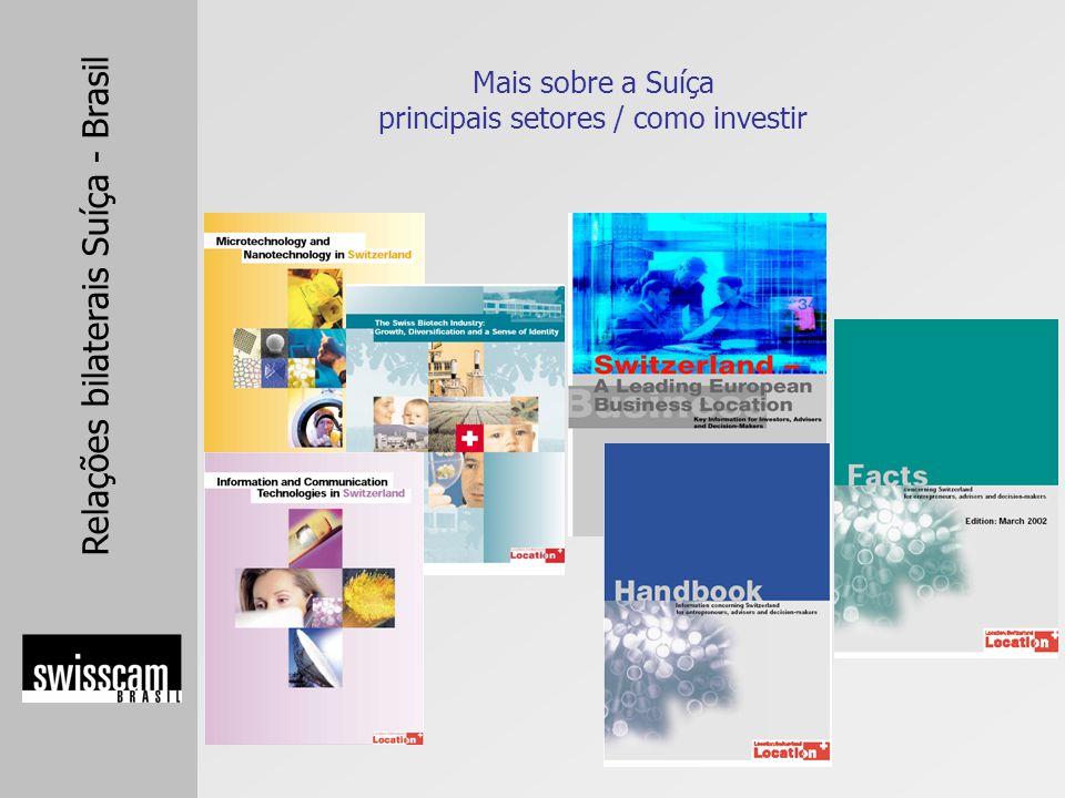 Relações bilaterais Suíça - Brasil Mais sobre a Suíça principais setores / como investir