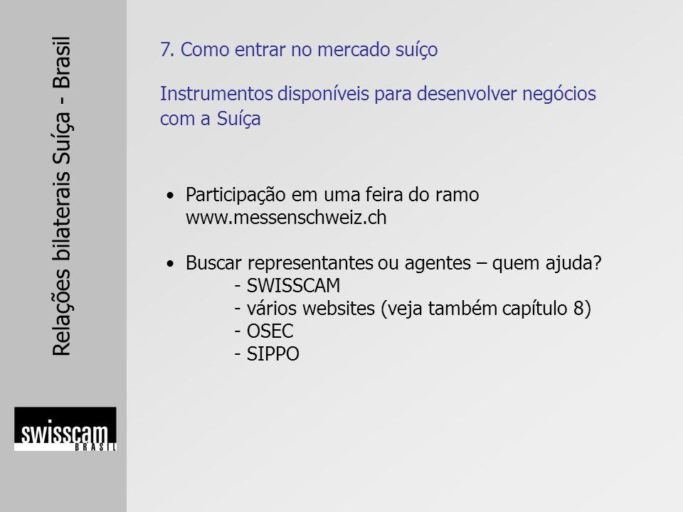 Relações bilaterais Suíça - Brasil 7. Como entrar no mercado suíço Participação em uma feira do ramo www.messenschweiz.ch Buscar representantes ou age
