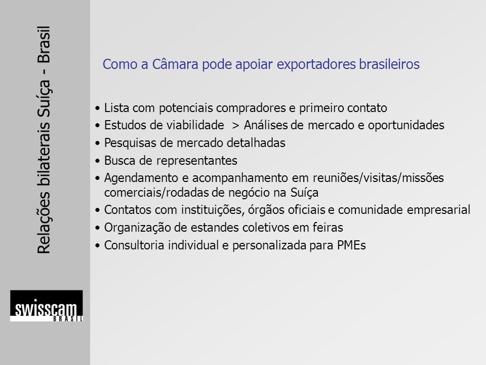 Relações bilaterais Suíça - Brasil Como a Câmara pode apoiar exportadores brasileiros Lista com potenciais compradores e primeiro contato Estudos de v