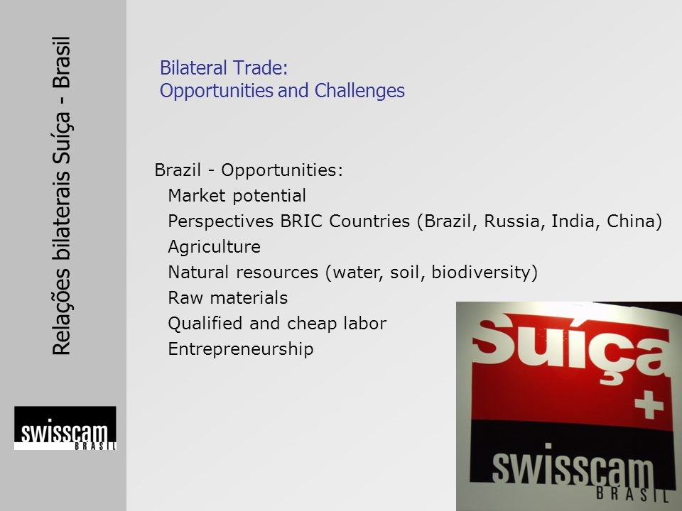 Relações bilaterais Suíça - Brasil Brazil - Opportunities: Market potential Perspectives BRIC Countries (Brazil, Russia, India, China) Agriculture Natural resources (water, soil, biodiversity) Raw materials Qualified and cheap labor Entrepreneurship Bilateral Trade: Opportunities and Challenges