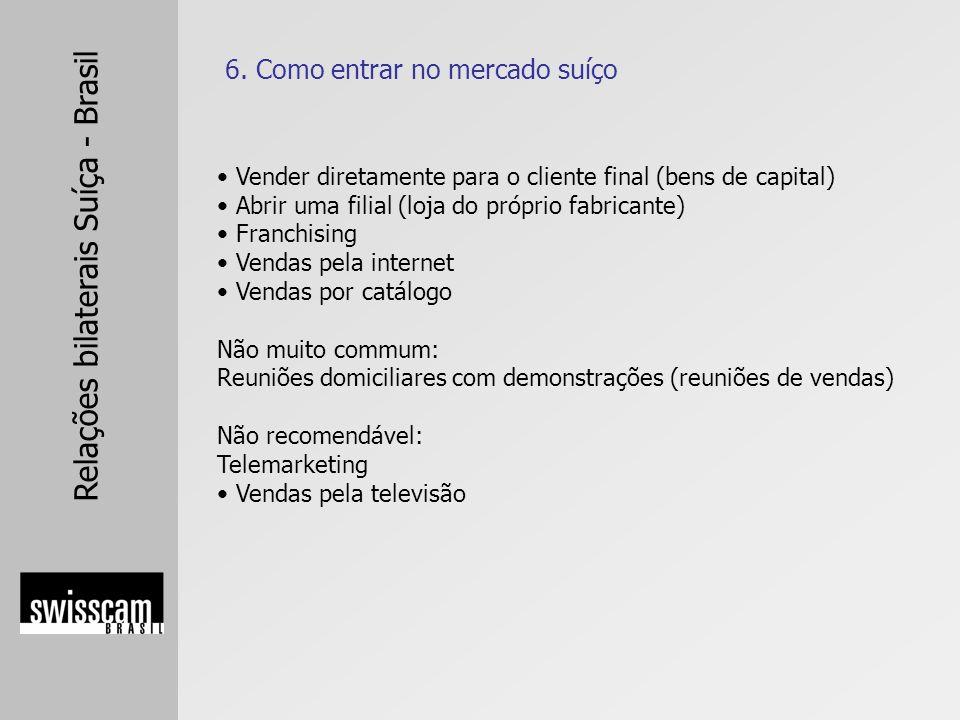 Relações bilaterais Suíça - Brasil Vender diretamente para o cliente final (bens de capital) Abrir uma filial (loja do próprio fabricante) Franchising