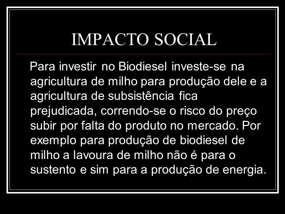 IMPACTO SOCIAL Para investir no Biodiesel investe-se na agricultura de milho para produção dele e a agricultura de subsistência fica prejudicada, corr