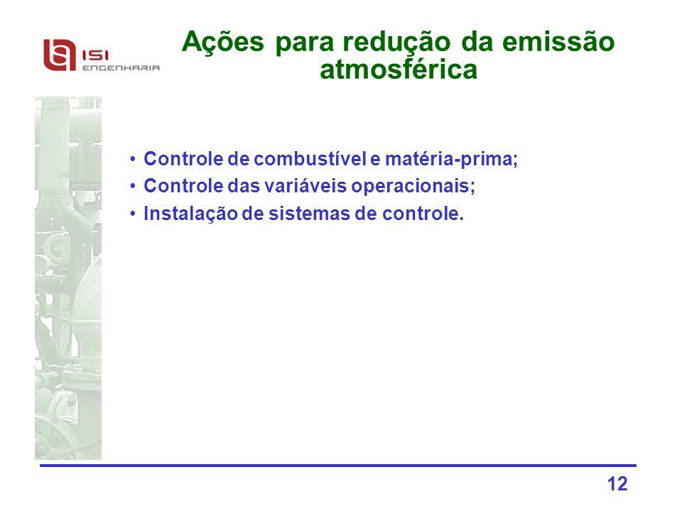 12 Ações para redução da emissão atmosférica Controle de combustível e matéria-prima; Controle das variáveis operacionais; Instalação de sistemas de c