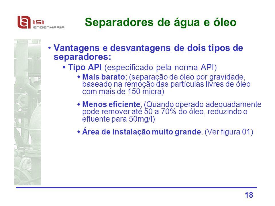 18 Separadores de água e óleo Vantagens e desvantagens de dois tipos de separadores: Tipo API (especificado pela norma API) Mais barato; (separação de