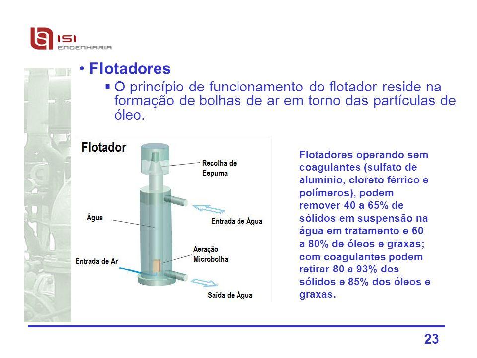 23 Flotadores O princípio de funcionamento do flotador reside na formação de bolhas de ar em torno das partículas de óleo. Flotadores operando sem coa