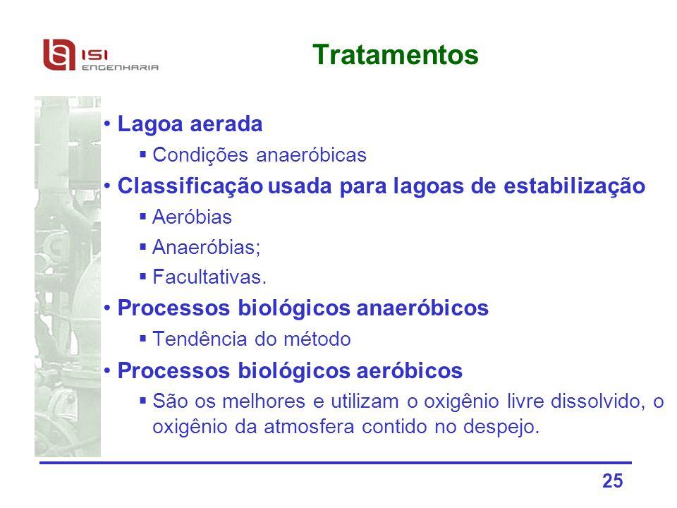25 Tratamentos Lagoa aerada Condições anaeróbicas Classificação usada para lagoas de estabilização Aeróbias Anaeróbias; Facultativas. Processos biológ