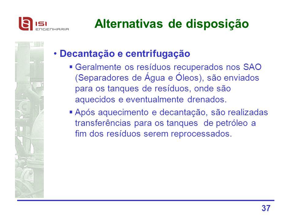 37 Alternativas de disposição Decantação e centrifugação Geralmente os resíduos recuperados nos SAO (Separadores de Água e Óleos), são enviados para o