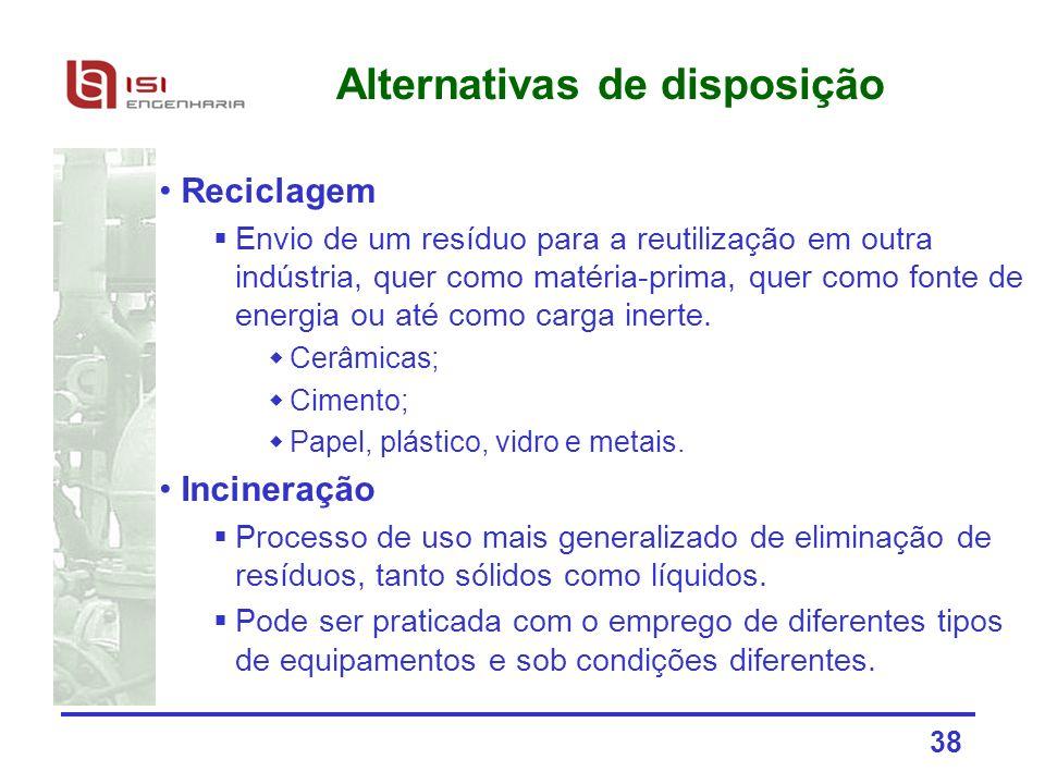38 Alternativas de disposição Reciclagem Envio de um resíduo para a reutilização em outra indústria, quer como matéria-prima, quer como fonte de energ