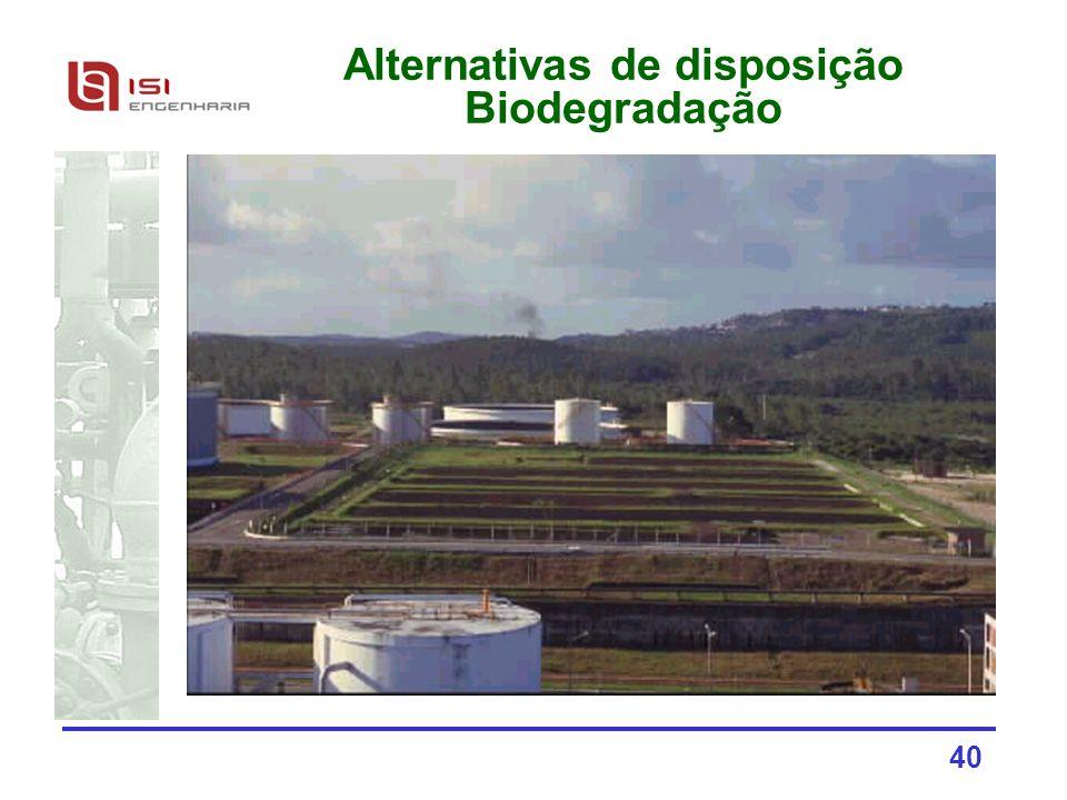 40 Alternativas de disposição Biodegradação