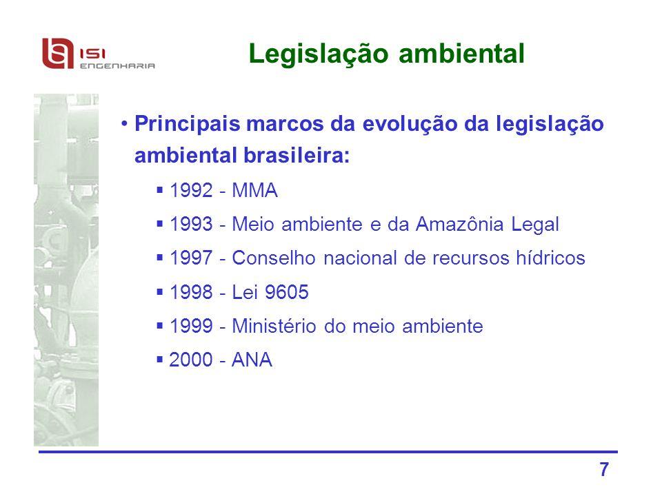 7 Legislação ambiental Principais marcos da evolução da legislação ambiental brasileira: 1992 - MMA 1993 - Meio ambiente e da Amazônia Legal 1997 - Co