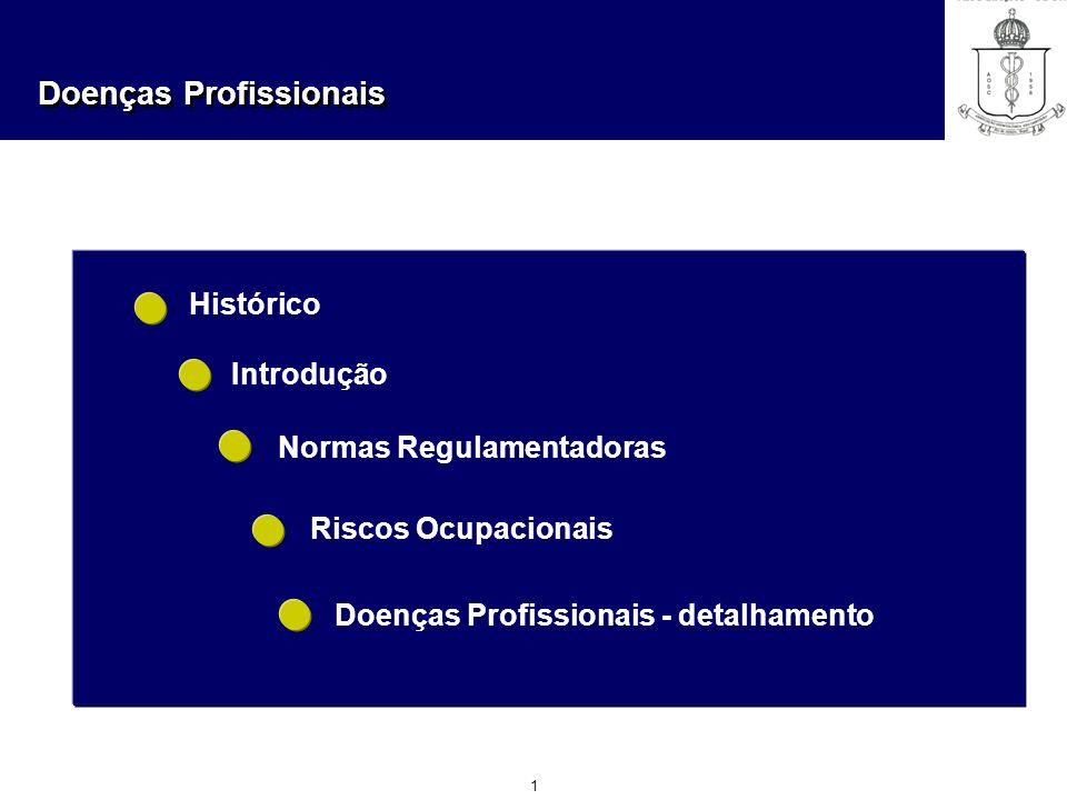 Doenças Profissionais 1 Histórico Introdução Normas Regulamentadoras Riscos Ocupacionais Doenças Profissionais - detalhamento