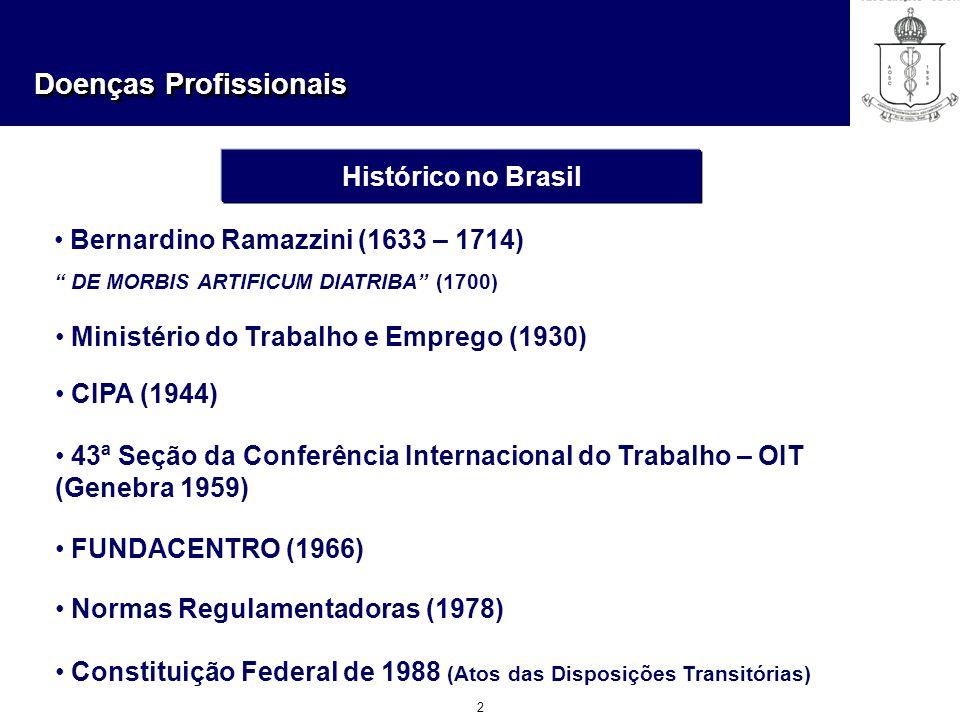 Doenças Profissionais 2 Histórico no Brasil Bernardino Ramazzini (1633 – 1714) DE MORBIS ARTIFICUM DIATRIBA (1700) Ministério do Trabalho e Emprego (1
