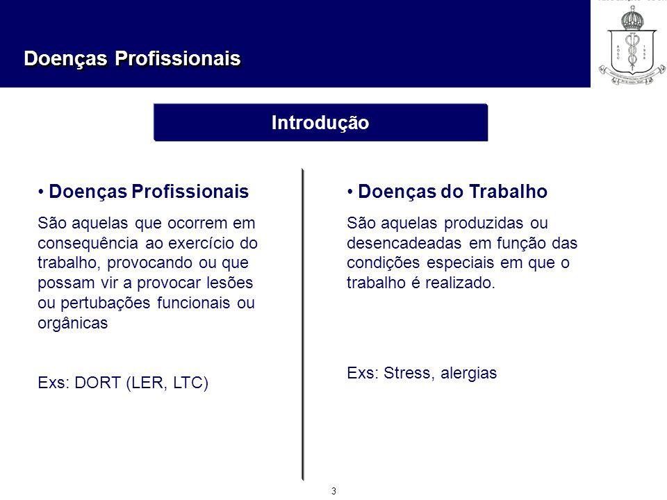 Doenças Profissionais 3 Introdução Doenças Profissionais São aquelas que ocorrem em consequência ao exercício do trabalho, provocando ou que possam vi