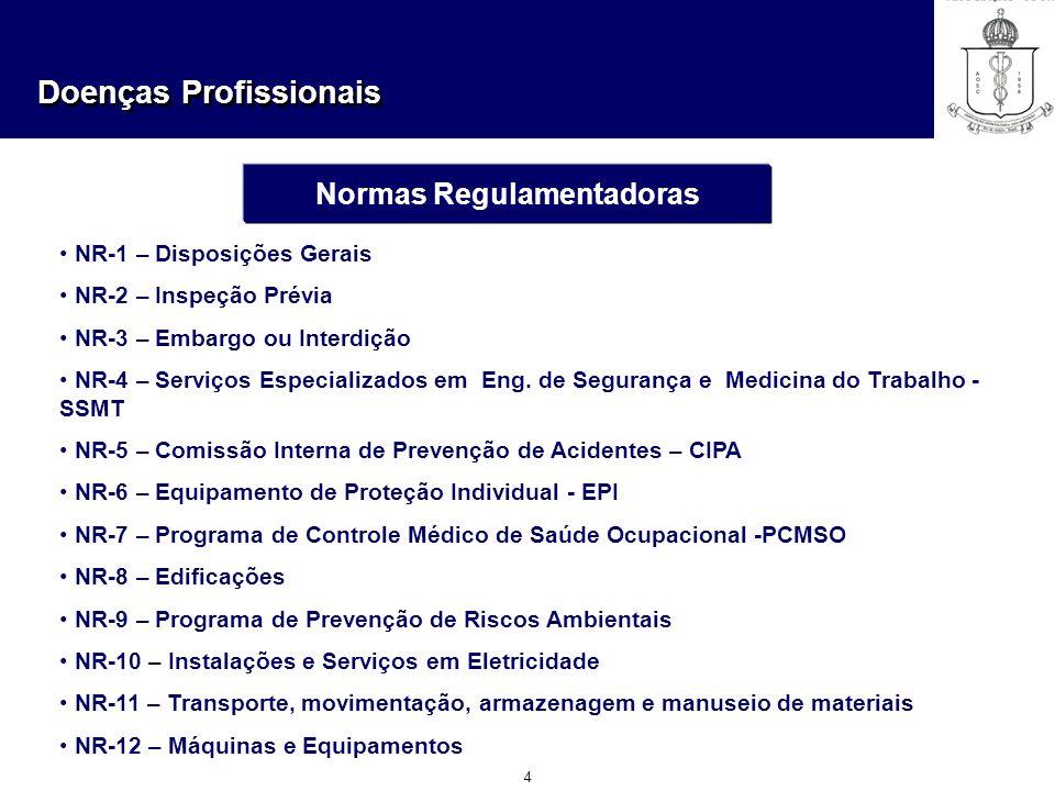Doenças Profissionais 4 Normas Regulamentadoras NR-1 – Disposições Gerais NR-2 – Inspeção Prévia NR-3 – Embargo ou Interdição NR-4 – Serviços Especial