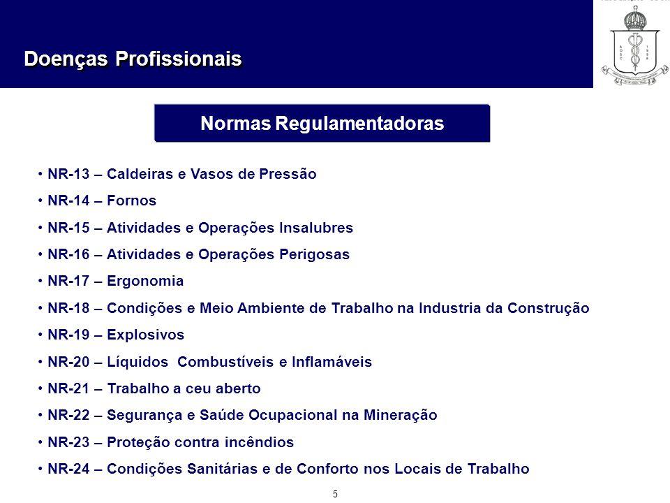 Doenças Profissionais 5 Normas Regulamentadoras NR-13 – Caldeiras e Vasos de Pressão NR-14 – Fornos NR-15 – Atividades e Operações Insalubres NR-16 –