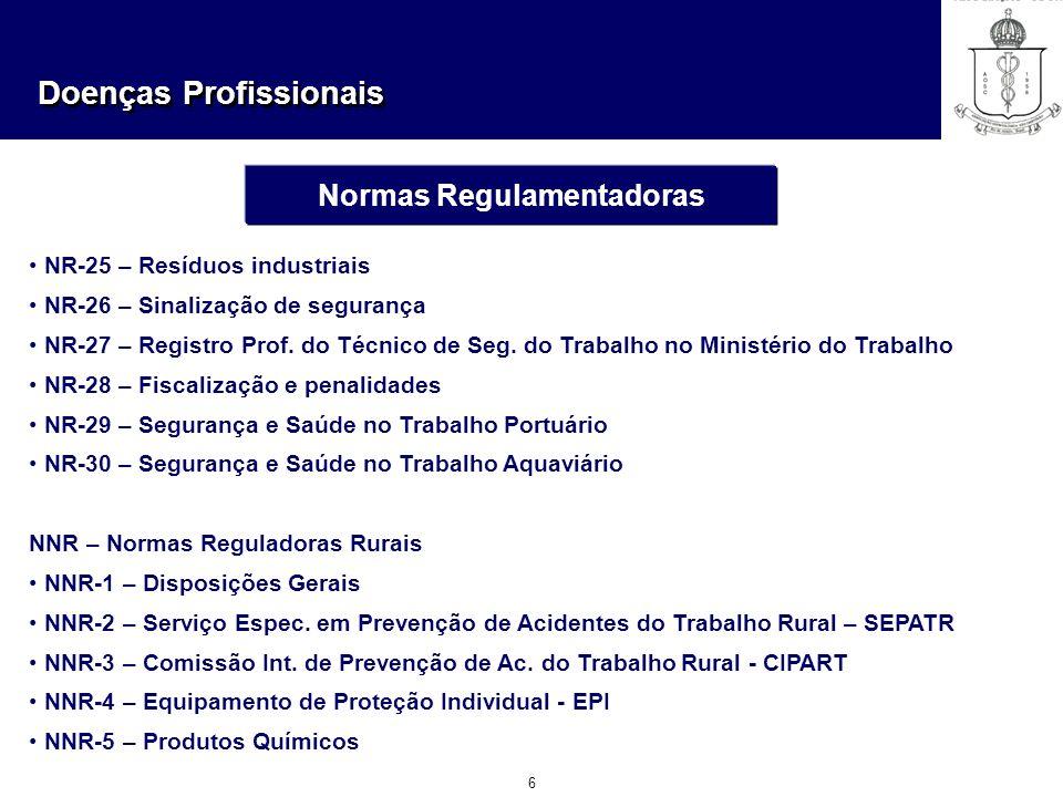 Doenças Profissionais 6 Normas Regulamentadoras NR-25 – Resíduos industriais NR-26 – Sinalização de segurança NR-27 – Registro Prof. do Técnico de Seg