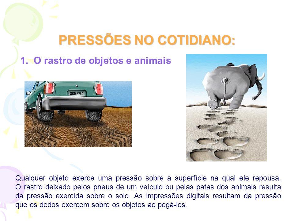 PRESSÕES NO COTIDIANO: 1. O rastro de objetos e animais Qualquer objeto exerce uma pressão sobre a superfície na qual ele repousa. O rastro deixado pe