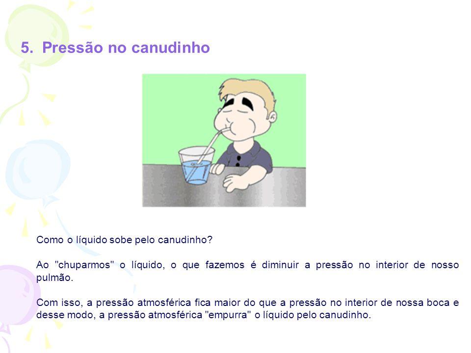 5. Pressão no canudinho Como o líquido sobe pelo canudinho? Ao