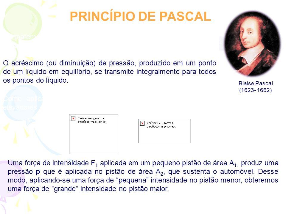 PRINCÍPIO DE PASCAL O matemático e físico francês Blaise Pascal estabeleceu o seguinte princípio: O acréscimo (ou diminuição) de pressão, produzido em um ponto de um líquido em equilíbrio, se transmite integralmente para todos os pontos do líquido.