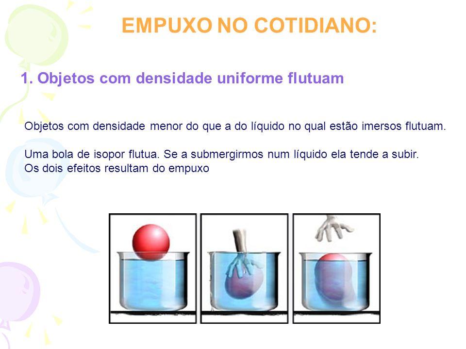 EMPUXO NO COTIDIANO: 1. Objetos com densidade uniforme flutuam Objetos com densidade menor do que a do líquido no qual estão imersos flutuam. Uma bola