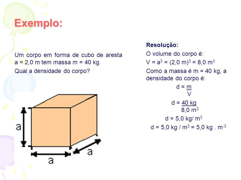 Exemplo: Resolução: O volume do corpo é: V = a 3 = (2,0 m) 3 = 8,0 m 3 Como a massa é m = 40 kg, a densidade do corpo é: d = m V d = 40 kg 8,0 m 3 d =
