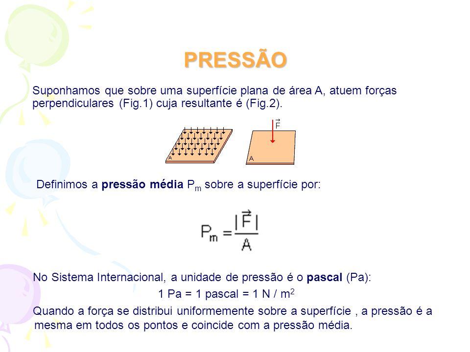 PRESSÃO No Sistema Internacional, a unidade de pressão é o pascal (Pa): 1 Pa = 1 pascal = 1 N / m 2 Quando a força se distribui uniformemente sobre a superfície, a pressão é a mesma em todos os pontos e coincide com a pressão média.