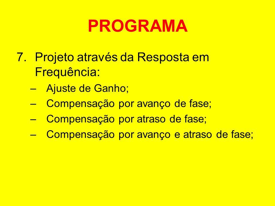 PROGRAMA 7.Projeto através da Resposta em Frequência: –Ajuste de Ganho; –Compensação por avanço de fase; –Compensação por atraso de fase; –Compensação