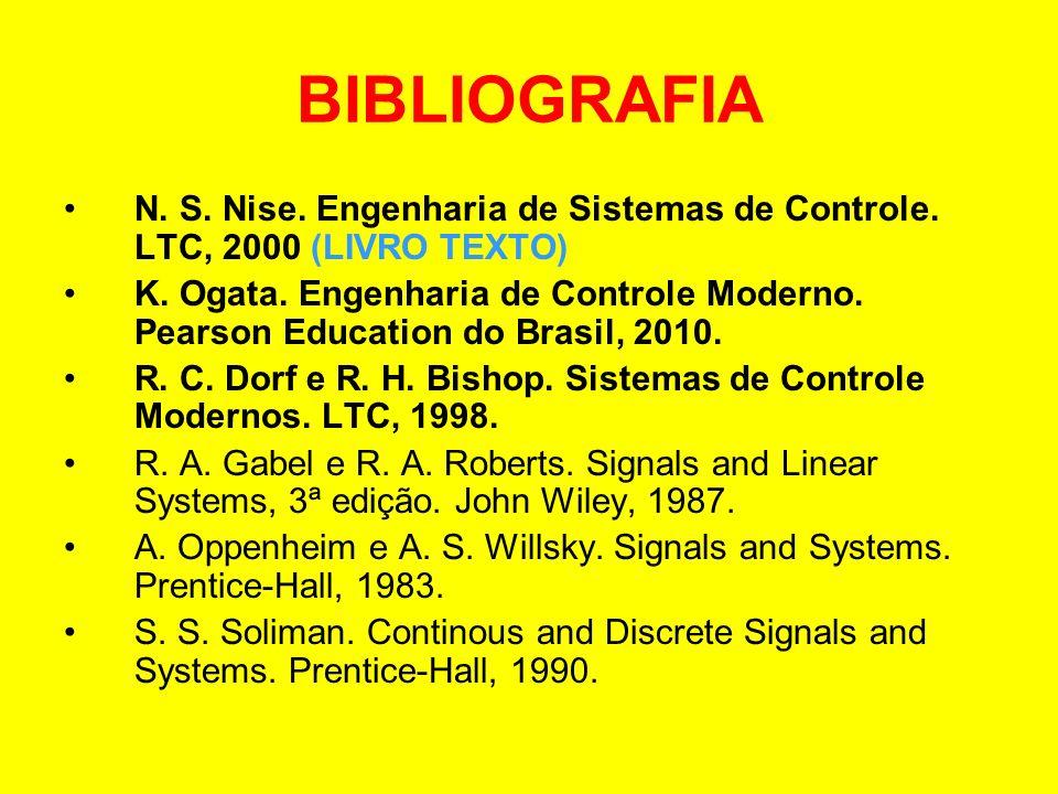 BIBLIOGRAFIA N. S. Nise. Engenharia de Sistemas de Controle. LTC, 2000 (LIVRO TEXTO) K. Ogata. Engenharia de Controle Moderno. Pearson Education do Br