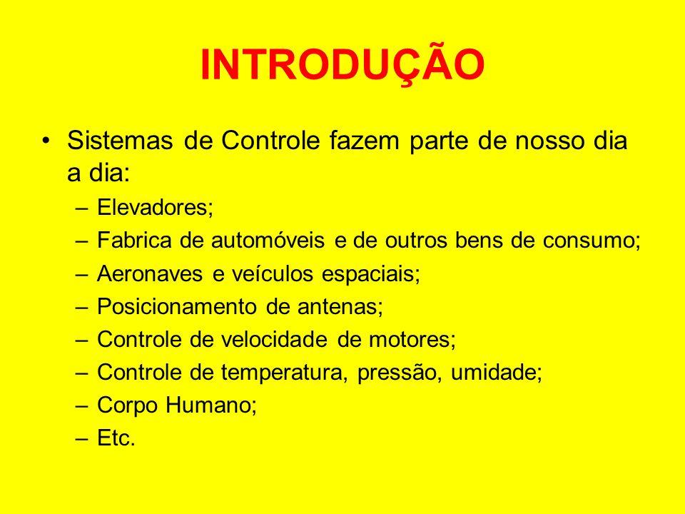 INTRODUÇÃO Sistemas de Controle fazem parte de nosso dia a dia: –Elevadores; –Fabrica de automóveis e de outros bens de consumo; –Aeronaves e veículos