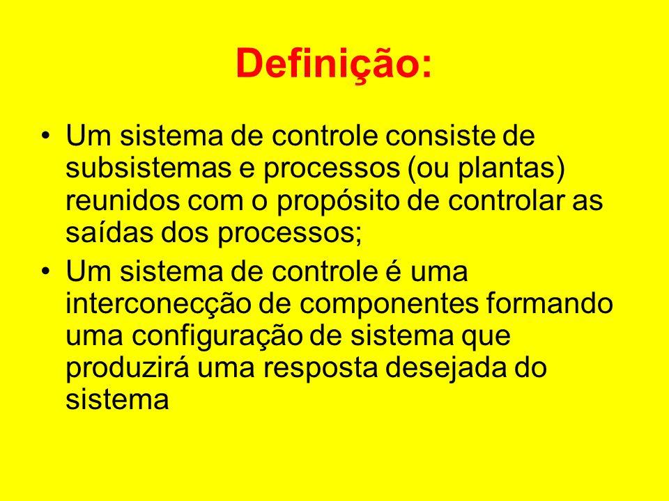 Definição: Um sistema de controle consiste de subsistemas e processos (ou plantas) reunidos com o propósito de controlar as saídas dos processos; Um s