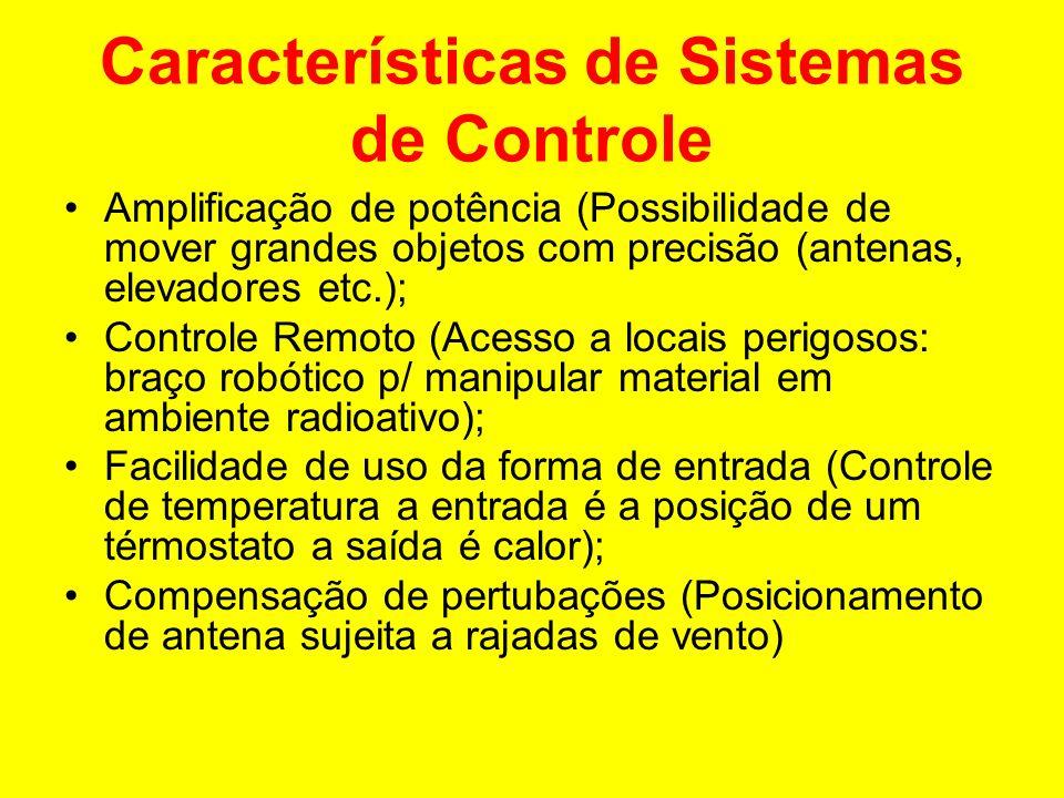 Características de Sistemas de Controle Amplificação de potência (Possibilidade de mover grandes objetos com precisão (antenas, elevadores etc.); Cont