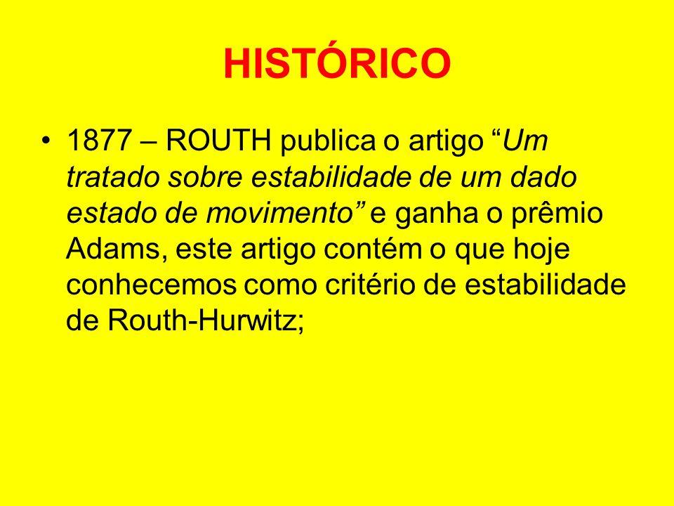 HISTÓRICO 1877 – ROUTH publica o artigo Um tratado sobre estabilidade de um dado estado de movimento e ganha o prêmio Adams, este artigo contém o que