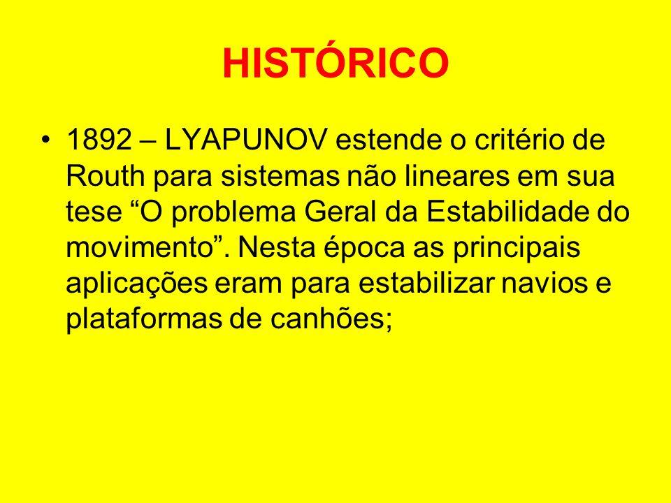 HISTÓRICO 1892 – LYAPUNOV estende o critério de Routh para sistemas não lineares em sua tese O problema Geral da Estabilidade do movimento. Nesta époc
