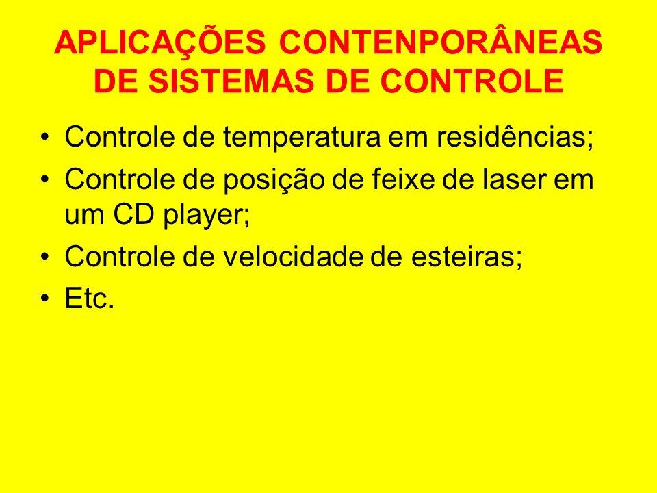 APLICAÇÕES CONTENPORÂNEAS DE SISTEMAS DE CONTROLE Controle de temperatura em residências; Controle de posição de feixe de laser em um CD player; Contr