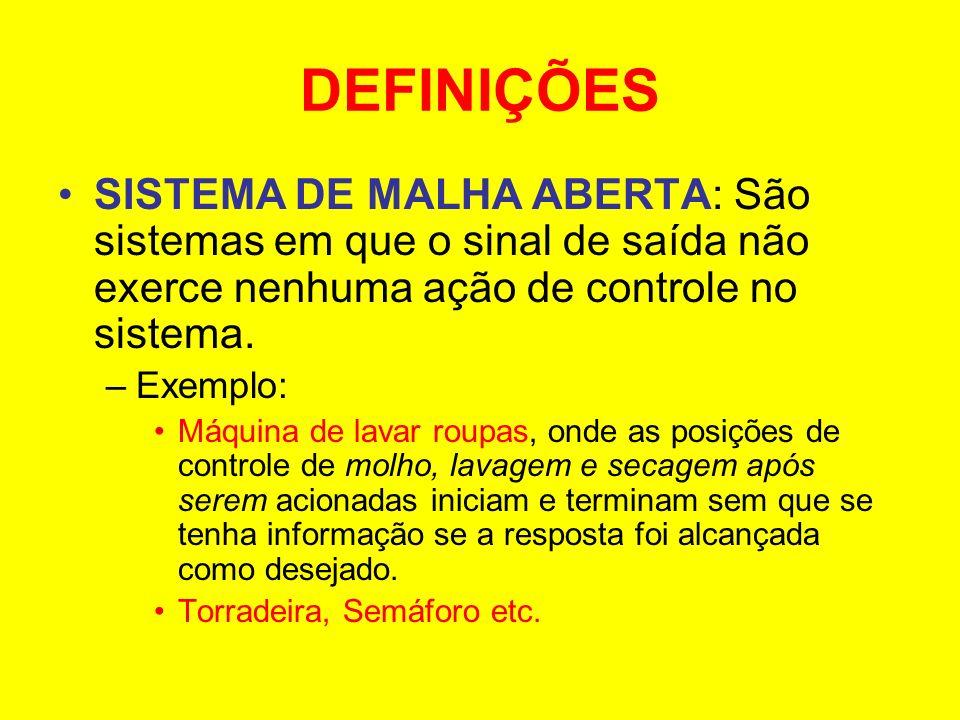 DEFINIÇÕES SISTEMA DE MALHA ABERTA: São sistemas em que o sinal de saída não exerce nenhuma ação de controle no sistema. –Exemplo: Máquina de lavar ro