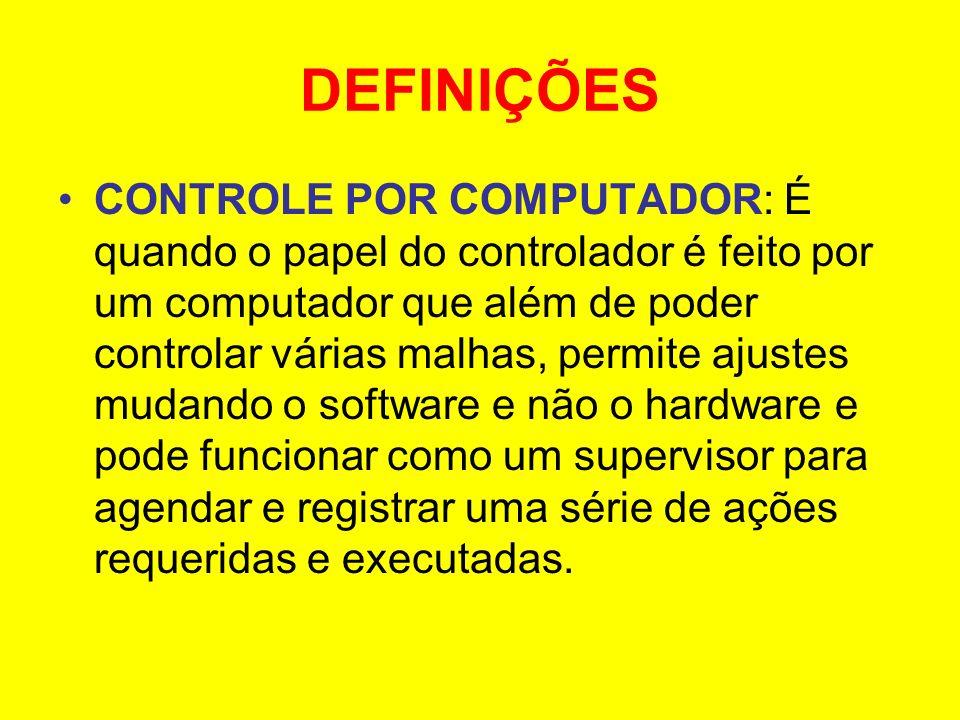 DEFINIÇÕES CONTROLE POR COMPUTADOR: É quando o papel do controlador é feito por um computador que além de poder controlar várias malhas, permite ajust