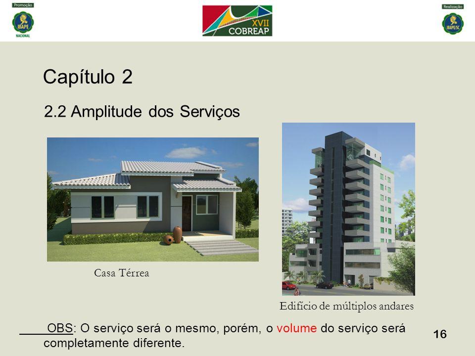 Capítulo 2 16 2.2 Amplitude dos Serviços Casa Térrea Edifício de múltiplos andares OBS: O serviço será o mesmo, porém, o volume do serviço será comple