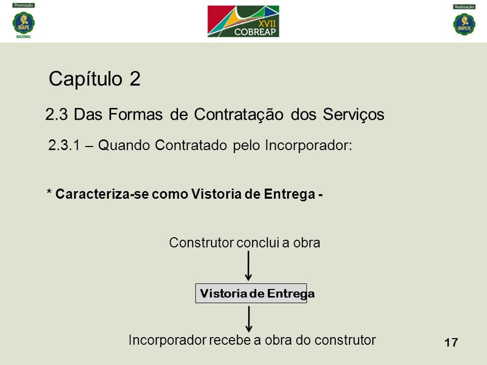 Capítulo 2 17 2.3 Das Formas de Contratação dos Serviços 2.3.1 – Quando Contratado pelo Incorporador: * Caracteriza-se como Vistoria de Entrega - Cons