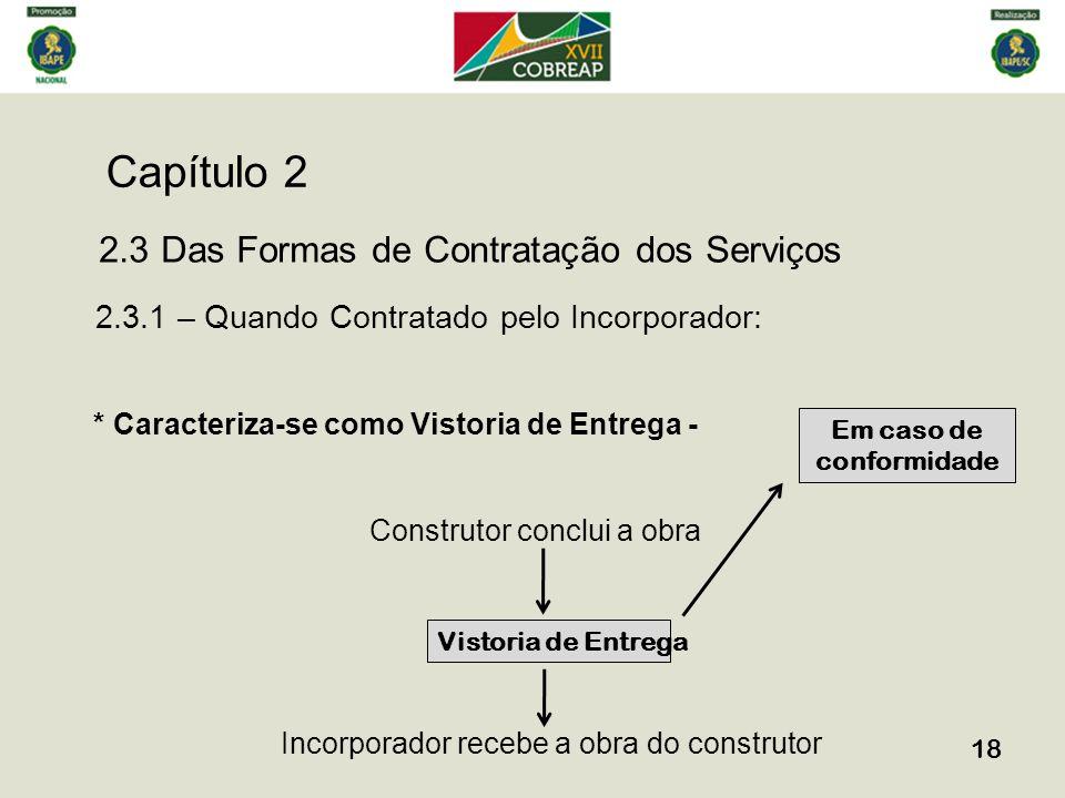 Capítulo 2 18 2.3 Das Formas de Contratação dos Serviços 2.3.1 – Quando Contratado pelo Incorporador: * Caracteriza-se como Vistoria de Entrega - Cons