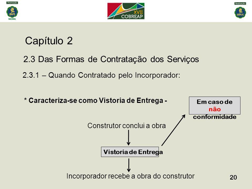 Capítulo 2 20 2.3 Das Formas de Contratação dos Serviços 2.3.1 – Quando Contratado pelo Incorporador: * Caracteriza-se como Vistoria de Entrega - Cons
