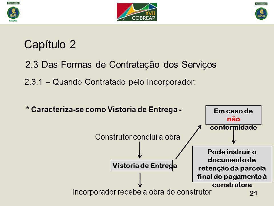 Capítulo 2 21 2.3 Das Formas de Contratação dos Serviços 2.3.1 – Quando Contratado pelo Incorporador: * Caracteriza-se como Vistoria de Entrega - Cons