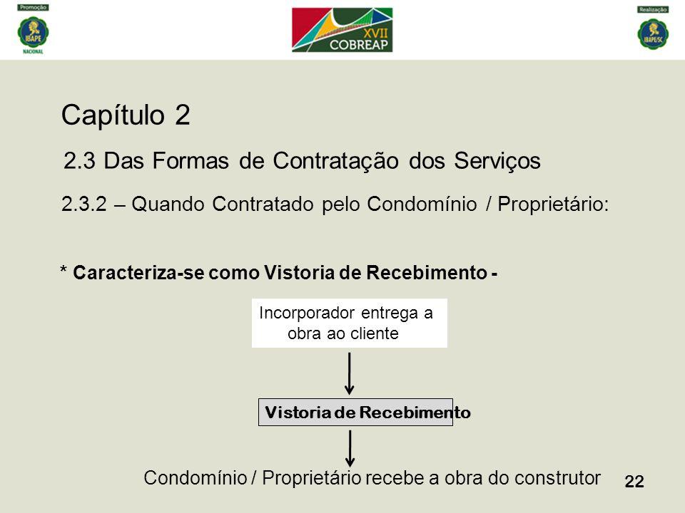 Capítulo 2 22 2.3 Das Formas de Contratação dos Serviços 2.3.2 – Quando Contratado pelo Condomínio / Proprietário: * Caracteriza-se como Vistoria de R