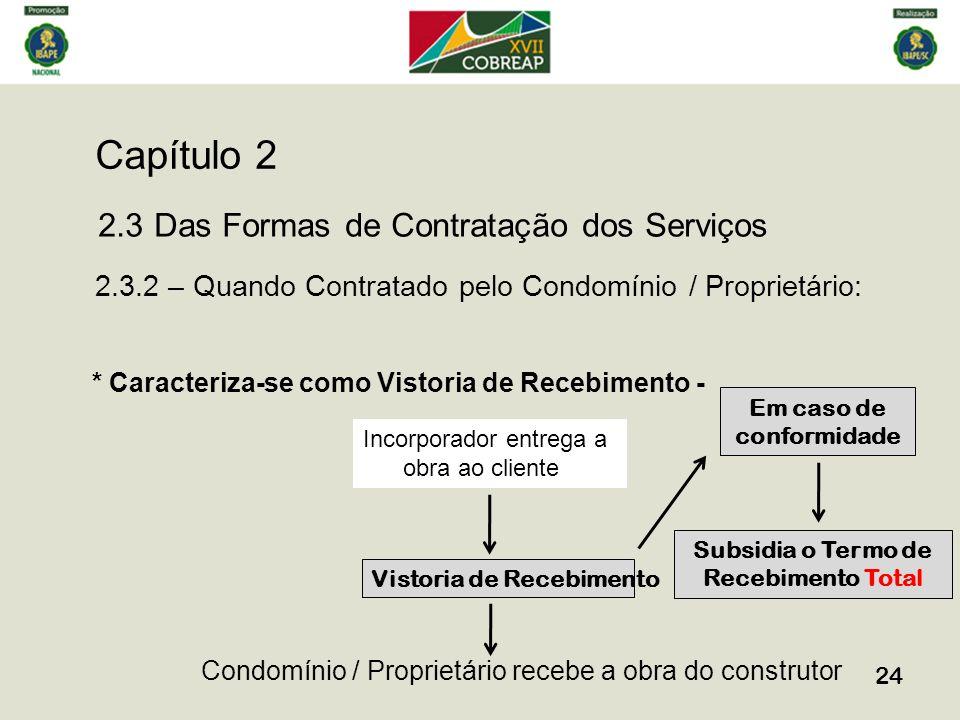 Capítulo 2 24 2.3 Das Formas de Contratação dos Serviços 2.3.2 – Quando Contratado pelo Condomínio / Proprietário: * Caracteriza-se como Vistoria de R