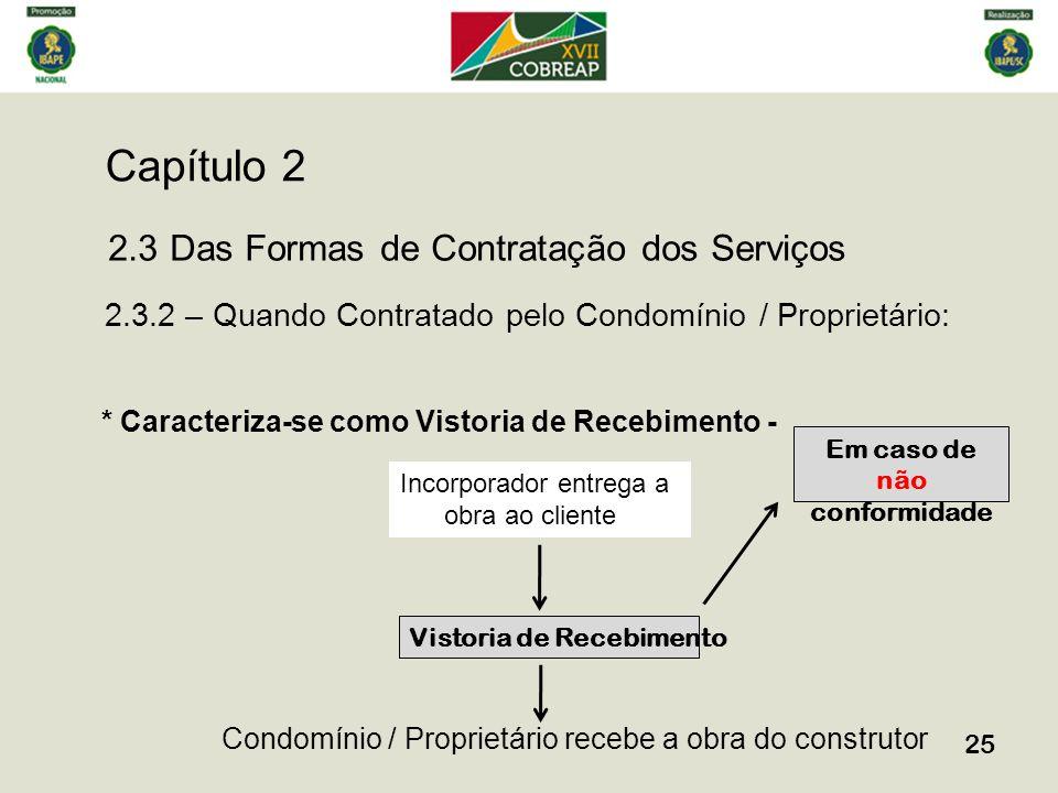 Capítulo 2 25 2.3 Das Formas de Contratação dos Serviços 2.3.2 – Quando Contratado pelo Condomínio / Proprietário: * Caracteriza-se como Vistoria de R