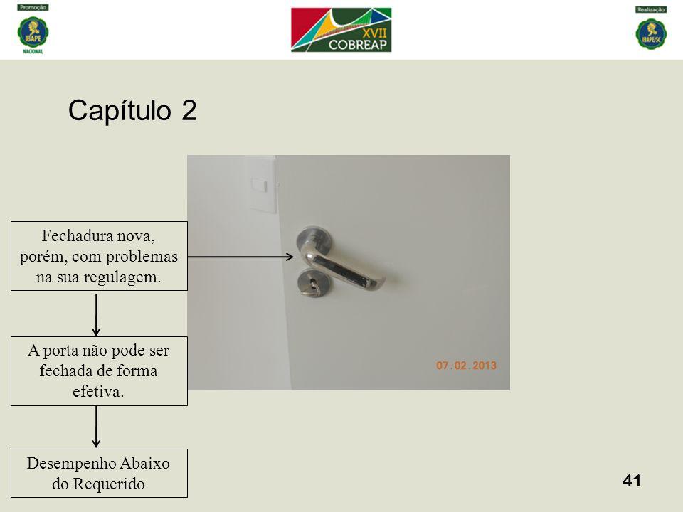 Capítulo 2 41 Fechadura nova, porém, com problemas na sua regulagem. A porta não pode ser fechada de forma efetiva. Desempenho Abaixo do Requerido