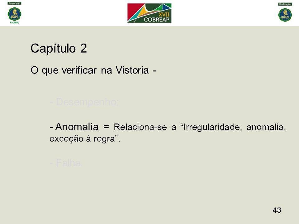 Capítulo 2 43 O que verificar na Vistoria - - Desempenho; - Anomalia = Relaciona-se a Irregularidade, anomalia, exceção à regra.