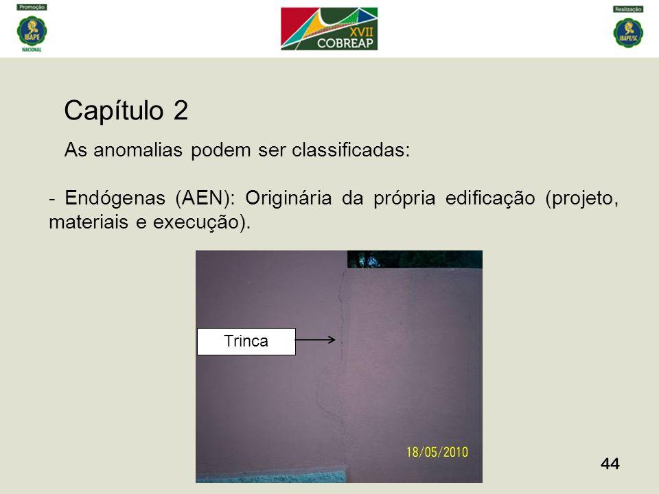 Capítulo 2 44 As anomalias podem ser classificadas: - Endógenas (AEN): Originária da própria edificação (projeto, materiais e execução).