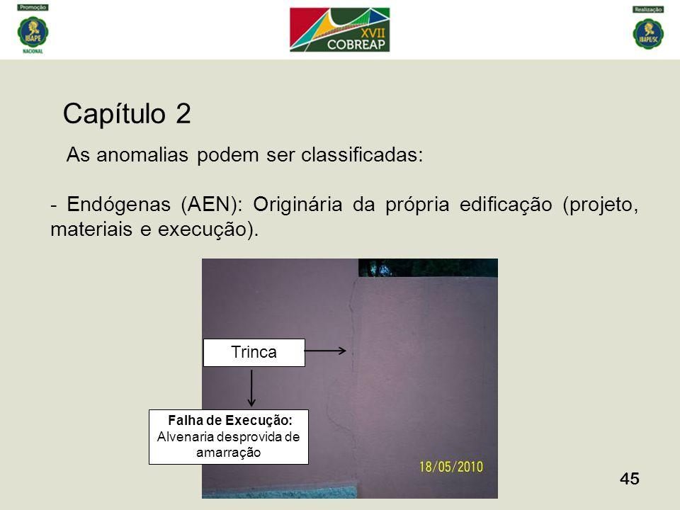 Capítulo 2 45 As anomalias podem ser classificadas: - Endógenas (AEN): Originária da própria edificação (projeto, materiais e execução). Trinca Falha