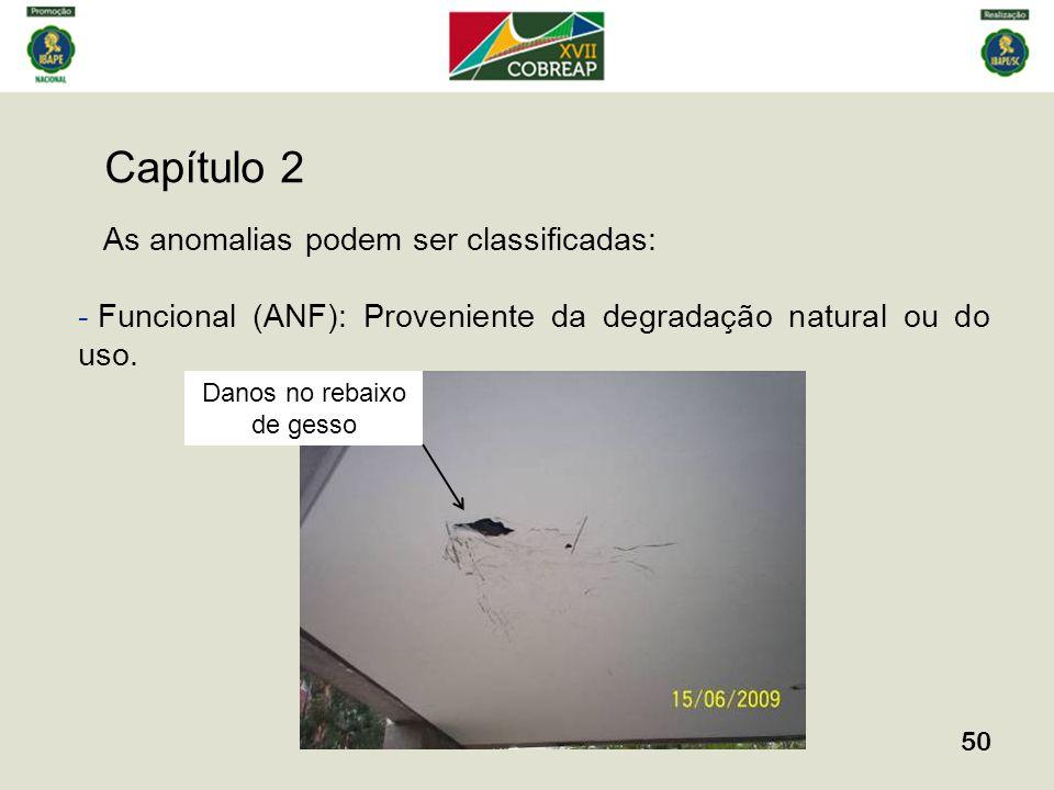 Capítulo 2 50 As anomalias podem ser classificadas: - Funcional (ANF): Proveniente da degradação natural ou do uso. Danos no rebaixo de gesso