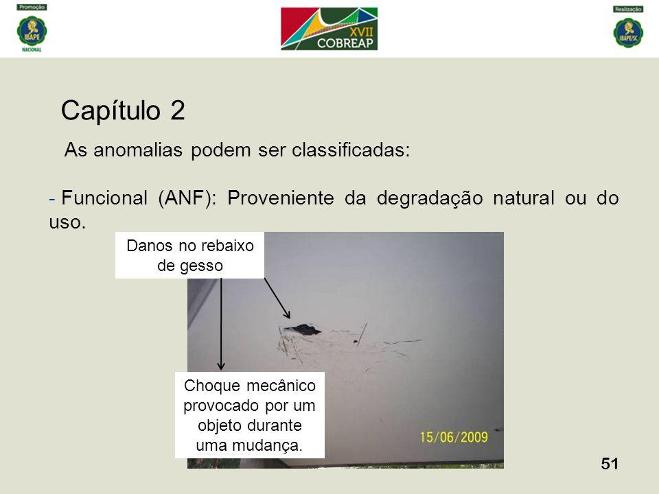 Capítulo 2 51 As anomalias podem ser classificadas: - Funcional (ANF): Proveniente da degradação natural ou do uso. Danos no rebaixo de gesso Choque m